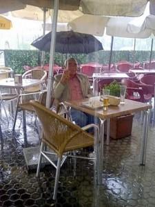 eating in the rain