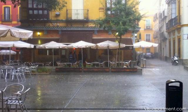 rainy plaza