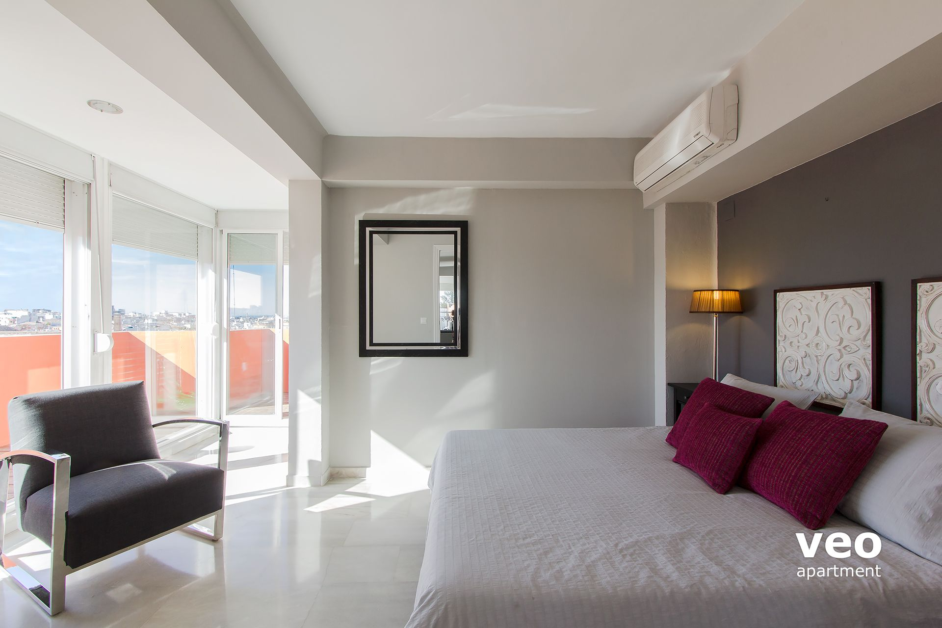 Seville Apartment   Master Bedroom With Double Bed, Wardrobe And En Suite  Bathroom.