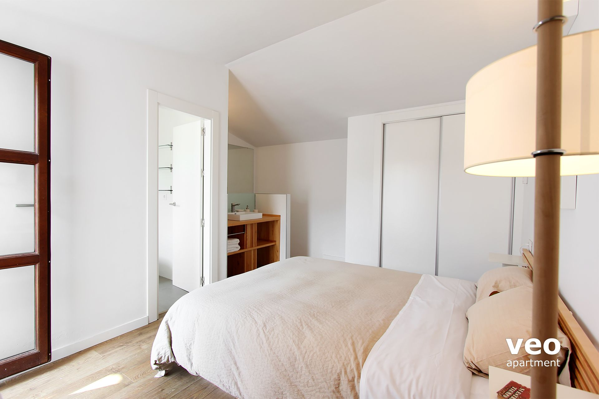 The Door Opens To The Seville Apartment   Bedroom With Double Bed, Built In  Wardrobe And En Suite ...