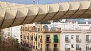 Seville Apartment - Close-up view of the wood structure of the Metropol Parasol.